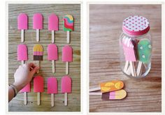 My daughter loves Popsicles and memory games - must make. Kids Crafts, Diy Birthday Decorations, Ideias Diy, Diy Games, Memory Games, Craft Activities, Children Activities, Popsicles, Diy For Kids