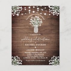 Rustic String Lights Mason Jar Wedding Invitation - tap/click to personalize and buy #rustic #floral #babys #breath #flowers Mason Jar Wedding Invitations, Bridal Shower Invitations, Modern Invitations, Wedding Postcard, Mason Jar Lighting, Budget Wedding, Wedding Ideas, Wedding Affordable, Wedding Reception