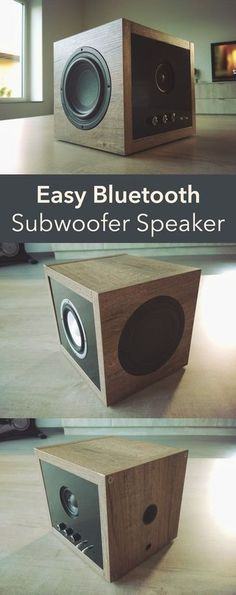 Easy Bluetooth Subwoofer Speaker Gadgets - Easy Bluetooth Subwoofer Speakers - Homemade Gadget Ideas and Projects for Men, Women, Teens and Children - Steampunk Inventions, How to Build Simple Electronics, Cool Spy Gear and Diy Bluetooth Speaker, Subwoofer Speaker, Diy Speakers, Built In Speakers, Bluetooth Gadgets, Music Speakers, Diy Subwoofer, Electronics Projects, Bluetooth Speakers