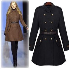 Elegant Stand Collar Double-breasted Solid Color Slim Fit Woolen Coat