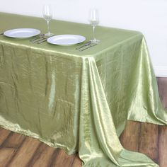 "90x132"" Apple Green Crinkle Crushed Taffeta Rectangular Tablecloth Green Wedding Decorations, St Patrick's Day Decorations, Greenery Garland, Leaf Garland, Chair Covers, Table Covers, Fake Grass Rug, Green Tablecloth, Green Led Lights"