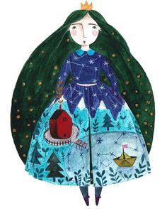 "73 Me gusta, 5 comentarios - Andrea Kürti (@kurti.andrea) en Instagram: ""Ida #illustration #watercolour #princess #kürtiandrea"""