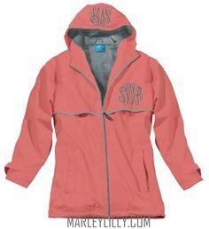 Monogrammed Coral New England Rain Jacket