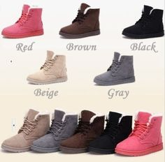 Flat Lace up Fashion Women Winter Ankle Snow Boots Suede Warm Fur Lining Shoes