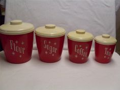 VINTAGE COLS PLASTIC PRODUCTS CANISTER SET 50-60s RETRO RED