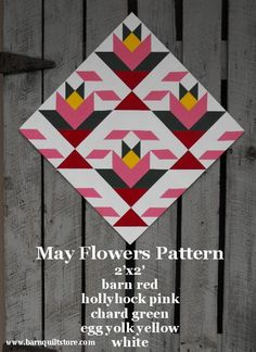 Painted Wood Barn Quilt, May Flowers Pattern via Etsy