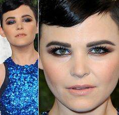 Ginnifer Goodwin- Fantastic makeup. Brown lined smokey eye with unexpected pop of jewel-toned blue.