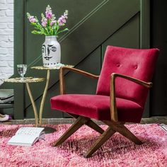 A mid-century style occasional chair, handcrafted from oak wood and upholstered in a rich raspberry velvet. Featuring sleek arms, cross-style legs and rivet detailing on the back, the Axel will make a luxurious addition to your interior. Exclusive to G&G. Raspberry Velvet Armchair, Mid Century Style, Raspberry Armchair, Raspberry Chair, Velvet Armchair, Raspberry Velvet Chair, Armchair, Green Decor, Occasional Chairs