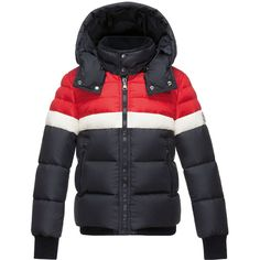 Moncler Aymond Hooded Colorblock Puffer Jacket (1.715 BRL) ❤ liked on Polyvore featuring kids apparel coats and navy