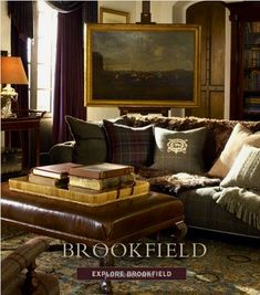 ideas living room brown couch ralph lauren for 2019 Brown Couch Living Room, My Living Room, Home And Living, Ralph Lauren Home Living Room, Interior Exterior, Interior Design, English Country Decor, Bcbg, Banquettes