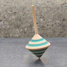 Square shaped spinning top with blue stripes by davidturnsbowls, $12.00