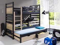 Pat din lemn de pin pentru copii Hipolit #kids #patsupraetajat #copii #homedecor Mattress Covers, Bed Mattress, Bunk Bed Curtains, Childrens Bunk Beds, Bunk Bed With Trundle, Pull Out Bed, Kiln Dried Wood, Built In Desk, Indoor Air Quality