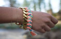 Chain link bracelets with colorful threads