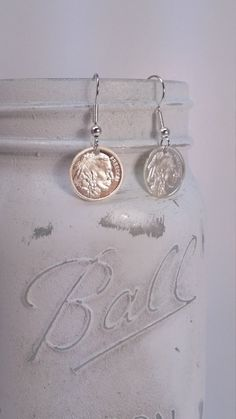 Freedom Indian / Buffalo Silver Dangle Earrings