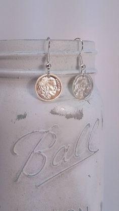 Freedom Indian / Buffalo Silver Dangle Earrings
