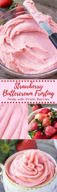 Learn how to make strawberry buttercream frosting from fresh strawberries. Thick, creamy & perfectly pipable - it's delicious on vanilla or chocolate cupcakes, and perfect for spring! #strawberryfrosting #strawberries #buttercream