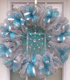 Blue and silver deco mesh Christmas wreath (ready to ship) on Etsy, $52.00