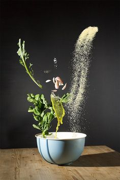 """German art director Nora Luther and photographer Pavel Becker worked in collaboration to create this impressive series of images showcasing recipe ingredients floating in mid-air.  """"The raw ingredients rest in weightlessnes. They are properly proportioned falling into the vessel where they are further processed.   The image serves a foretaste not only of the dish but also of its preparation. The look of the ready cooked dish is left to your own imagination.""""  More creative photogra..."""
