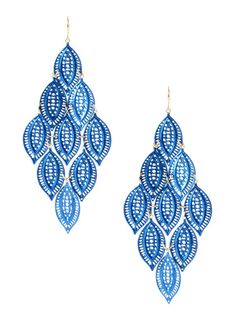 Selina Leafy Blue & Gold Earrings by Amrita Singh on Gilt.com