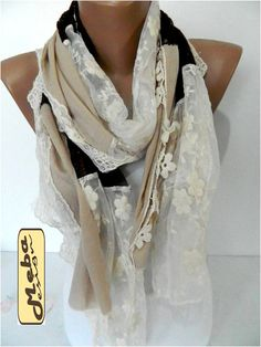 Elegant scarf Fashion scarf Brown-Beige Scarf-gift by MebaDesign