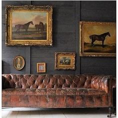 Sexy, atmospheric, & perennially on trend, leather seating, like this vintage Chesterfield sofa, and art in gilded frames is a decor foundation with style for miles.