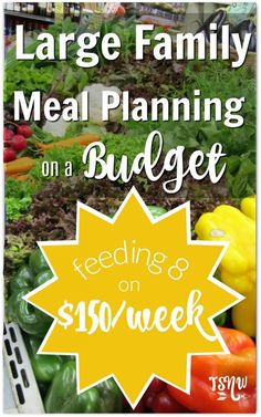 Large Family Meal Planning on a Budget doesn't have to be hard! Check out some of my methods and an example menu with price breakdown. Easy Family Meals, Frugal Meals, Budget Meals, Budget Recipes, Cheap Recipes, Easy Meals, Meals For Large Families, Freezer Meals, Cheap Large Family Meals