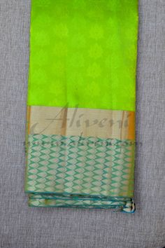 Green Light Weight Kanchipuram Pattu Saree with Teal Green Pure Zari Borders