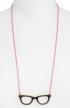 kate spade new york 'goreski' reversible pendant necklace Black/ Pink/ Red Multi/ Gold #necklaces #jewelry