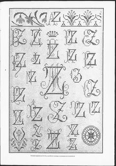 Cross stitch monograms, borders and ornaments, some with Art Nouveau influences.   (visit site for bigger picture)   Gracieuse. Geïllustreerde Aglaja, 1905, aflevering 20, pagina 239