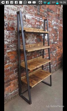 Industrial Chic Reclaimed Custom Steel and Wood Bookcase by RCCLTD furniture wood Industrial Chic Reclaimed Custom Trapezium Bookcase Media Shelving Unit - DVD Books Cafe Office Restaurant Furniture Rustic Steel Wood 243 Industrial Design Furniture, Industrial Shelving, Rustic Furniture, Furniture Design, Kitchen Industrial, Kitchen Wood, Industrial Restaurant, Industrial Decorating, Industrial Lighting