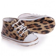 Roberto Cavalli Baby Girls Leopard Print High-Top Lace-up Trainers