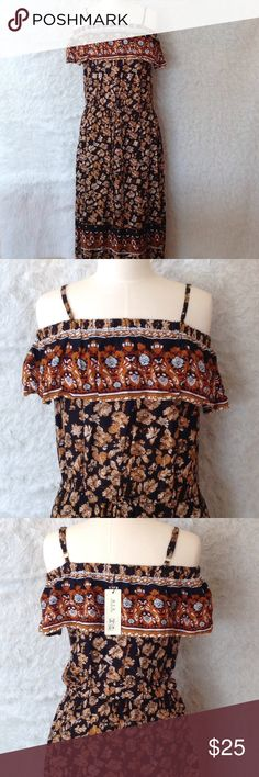 """Womens boho hippy long dress clothes large new nwt Brand new with tags womens long dress size large. The dress measures 50"""" from strap to bottom. Beautiful dress!!!!!! Dresses"""