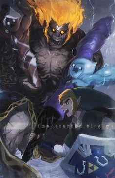 The Legend of Zelda : Skyward Sword / Link, Ghirahim, Fi, and Demise/ 「Skyward Sword:: The Last Battle」/「Biahnyang」のイラスト [pixiv]