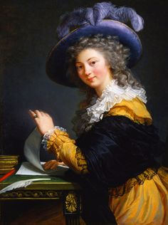 Elisabeth Vigée-LeBrun; married to a descendant from 'Académie Royale de France'-founder Charles LeBrun, Elisabeth is one of the rare female painters in age of revolution.
