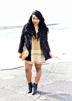 My Voguish Diaries: short and sweet  | winter coat | woc fashion blogger | street style | gold dress