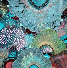 Underwater rock pool themed graphic repeat geometric pattern art illustration Thrive - by Yellena James - Artist / Illustrator from Portland, Oregan Doodle Drawing, Painting & Drawing, Coral Drawing, Drawing Flowers, Pebble Painting, Yellena James, Art Plastique, Textures Patterns, Oeuvre D'art
