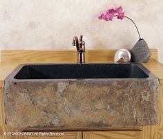 Stone Forest, Farmhouse Sink           Natural Front Farmhouse Sink        Black Granite