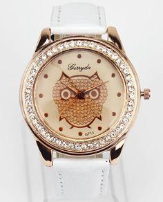 Ladies Fashion Dress Owl Dial White Women Leather Watch Girl Clock New #Fashion