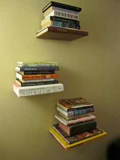 """Floating Book"" shelves I made. Materials: An old book you pick up from the Goodwill. An ""L"" bracket from the hardware store. drill/ screw Gorilla Glue (or some other heavy-duty adhesive). Door Shelves, Shelving, Shelf, Floating Books, Diy Craft Projects, Craft Ideas, Crates, Exacto Knife, Bookcase"