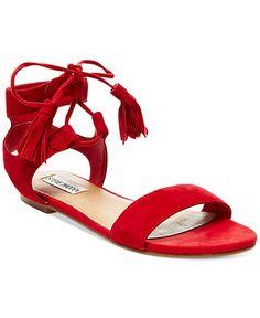 09081962f32580 Steve Madden Daryyn Tassel Ankle Tie Flat Sandal suede red .25h sz7.5 69.00
