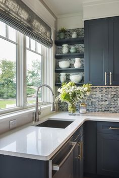 glass mosaic backsplash tile #americancoastallivingrooms
