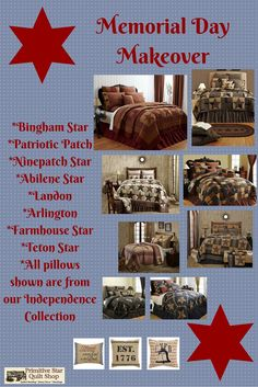 Don't wait until Summer or Fall to give your room a fresh look. Memorial Day is just around the corner and it's as good of an excuse as any to give your bedroom an update. If you love stars and the American look, you will love all of the beautiful quilted collections that PSQS has to offer. Jump on over to https://www.primitivestarquiltshop.com/pages/shop-by-quilt-collection to have a look see! #primitivecountrybedroomsbeddingandaccessories