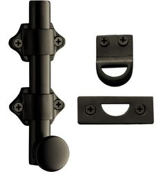 4in. Surface Bolt with 2 strikes Solid Brass Surface Bolt