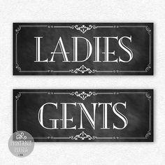 """restroom signs printable """"ladies/gents"""" diy digital instant"""