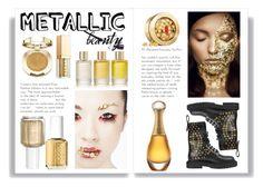 """Golden beauty"" by pinkcedar on Polyvore featuring beauty, Burberry, Christian Dior, Essie, Aromatherapy Associates, Milani, Stila and Elizabeth Arden"