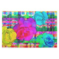 Tartan Rose Kitchen Dish Towel #kitchen #towel #dish #accessory #decor #plaid #roses #flowers #bright #fun #apartment #home