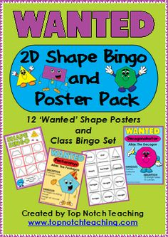 This 2D shape pack is a fun way to help your students identify, name and describe two dimensional shapes.  You'll receive 12 2D shape posters, 30 different bingo cards and 2 different types of shape clues. $ http://www.teacherspayteachers.com/Product/2D-Shape-Bingo-and-Poster-Pack-337561