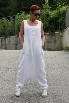 Perfect white linen jumpsuit outfit for summer Extravagant linen overalls with four pockets Good choice for every day  All garments are handmade!  Similar model: https://www.etsy.com/listing/518537002/linen-jumpsuit-linen-dress-drop-crotch https://www.etsy.com/listing/400186863/summer-jumpsuit-harem-jumpsuit-backless https://www.etsy.com/listing/251559899/drop-crotch-jumpsuit-harem-jumpsuit  Please provide your PHONE N...