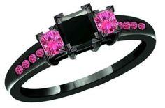 PrincessCut Pink Sapphire & black Sapphire 14k Black Gold Filled 925 Sterling Silver Bridal Engagement Ring