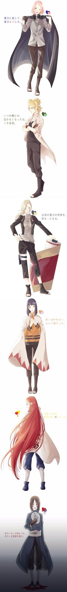 The girls in their man's clothes.  A while back I pinned the NaruHina one, but then I found SasuSaku, ShikaTema, SaiIno, MinaKushi, and ObiRin ones and had to add them! #naruto